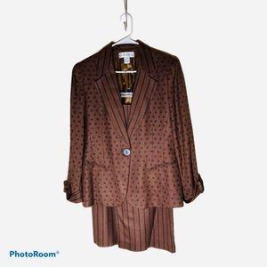 Christian Dior Vintage 2Piece Suit Brown/Blk Sz 10